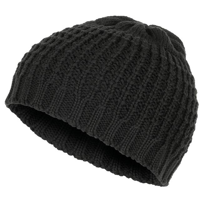 "KNITTED HAT ""BEANIE"" - ROUGH COTTON - BLACK"
